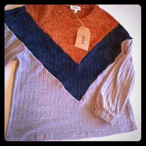NWT Listicle Chenille Color Block Sweater